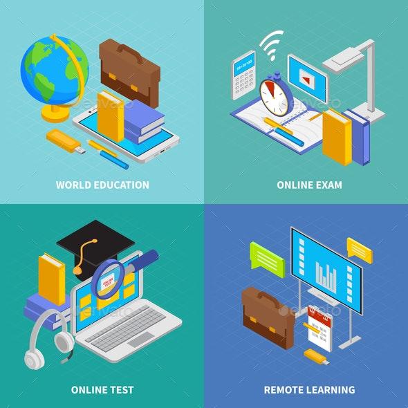 Online Education Concept Icons Set - Computers Technology