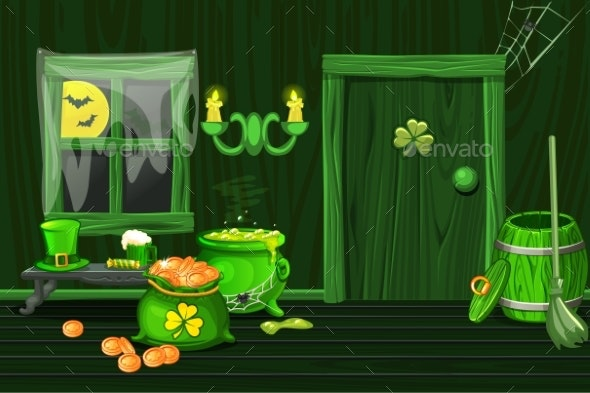 Green House Illustration Interior Wooden Room - Backgrounds Decorative