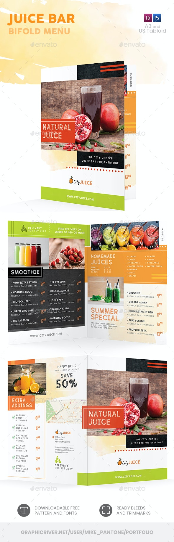 Juice Bar Bifold / Halffold Menu 2 - Food Menus Print Templates