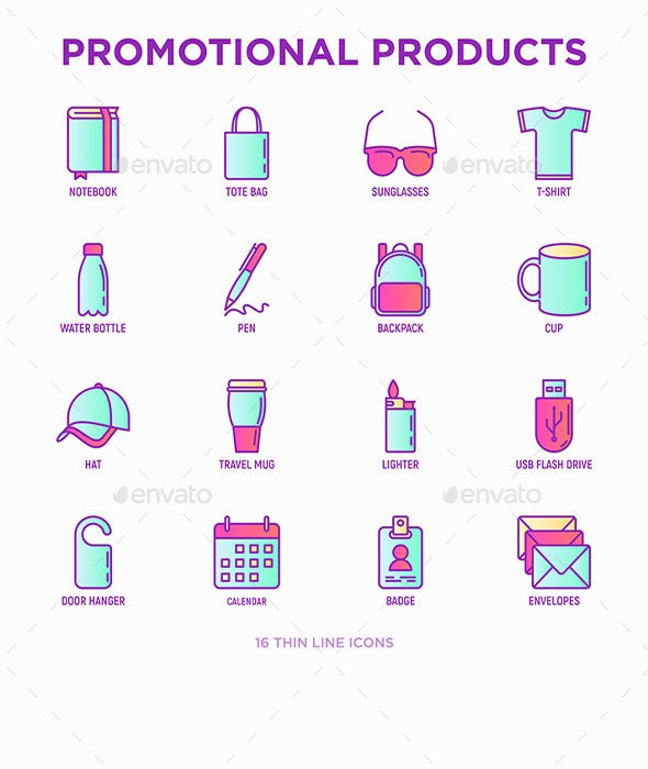 Promotional Products | 16 Thin Line Icons Set - Business Icons