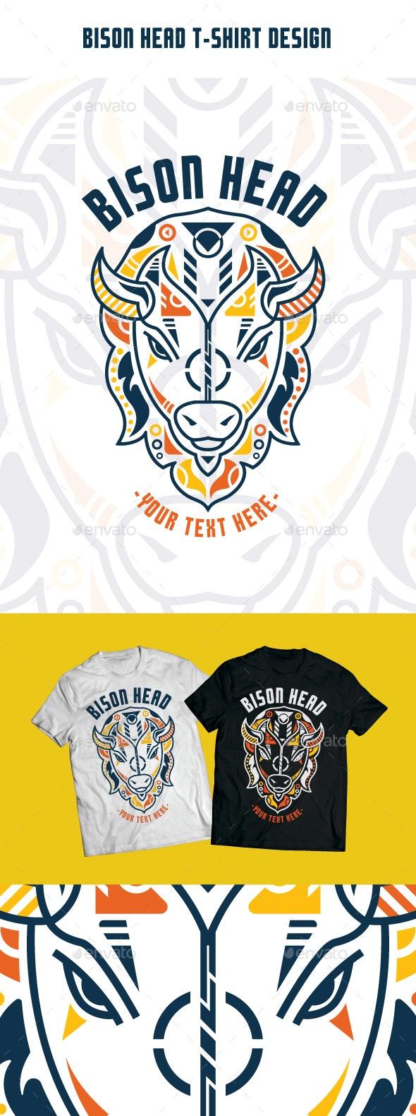 Unique Bison Head T-Shirt Design - T-Shirts