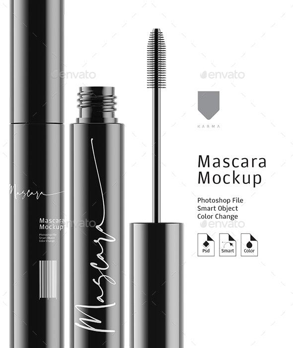 Mascara Mockup Gloss - Product Mock-Ups Graphics