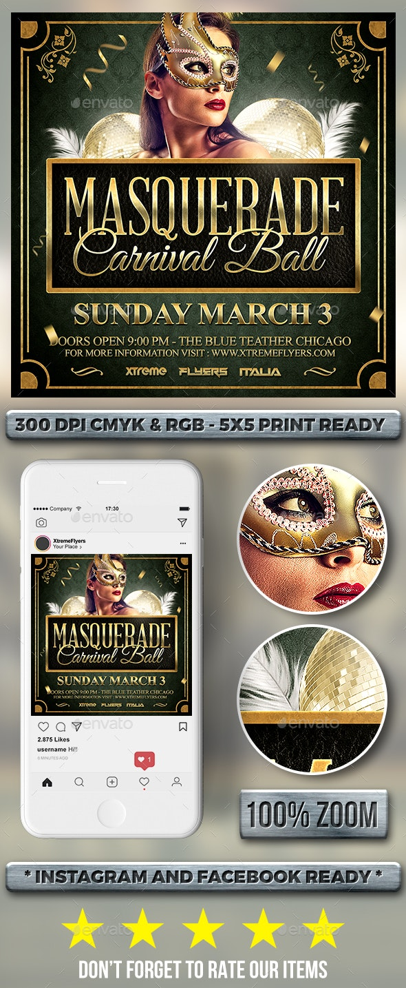 Masquerade Ball Flyer - Clubs & Parties Events
