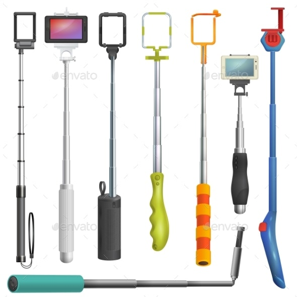 Selfie Stick Vectors - Man-made Objects Objects