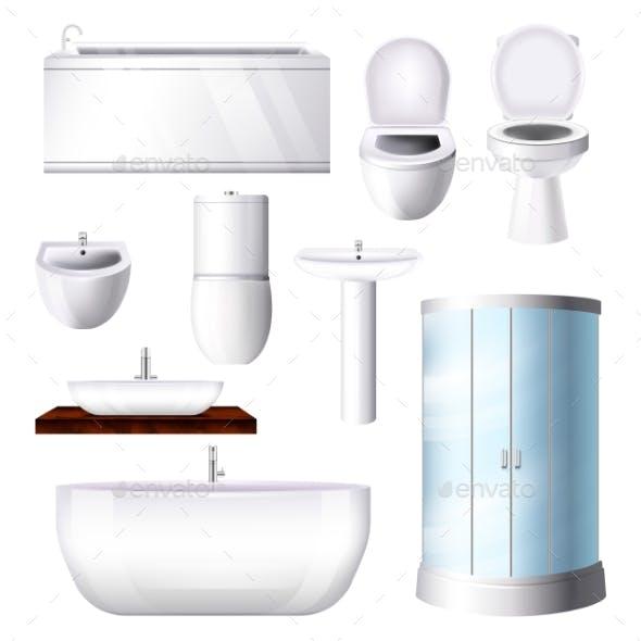 Bathroom Interior Vector Bathtub Sink Shower