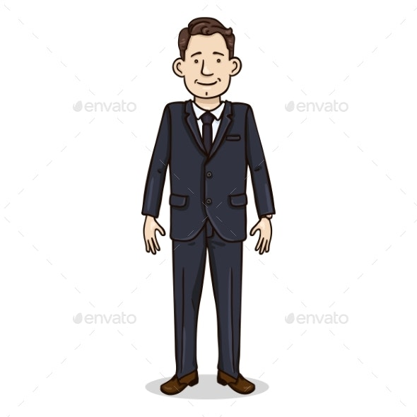 Vector Cartoon Color Character - Business Man - People Characters