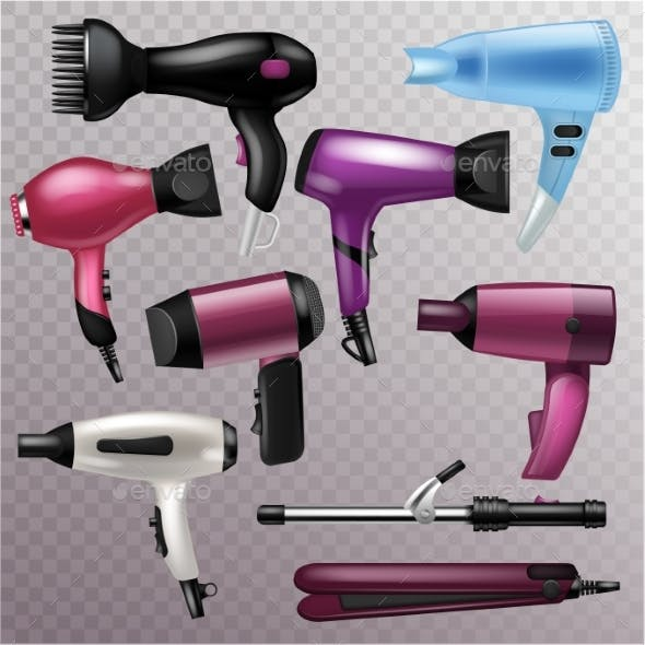 Hair Dryer Vector Fashion Hairdryer of Hairdresser