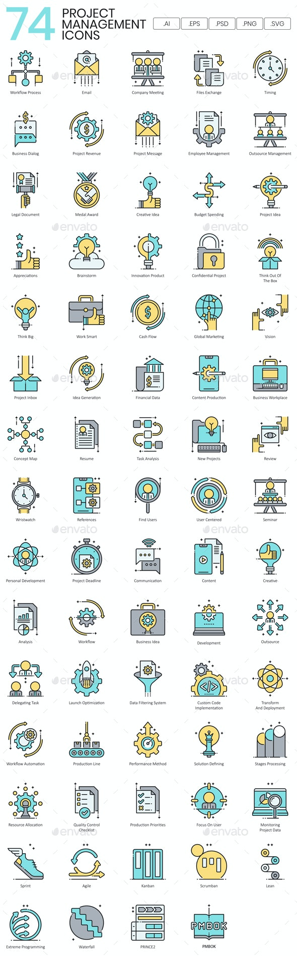 Project Management Icons - Aqua Series - Business Icons