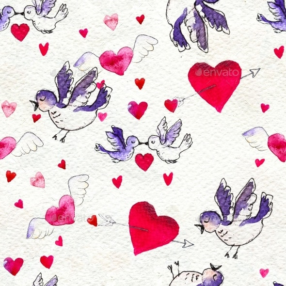Happy Valentines Day. Seamless Pattern with Red - Patterns Decorative
