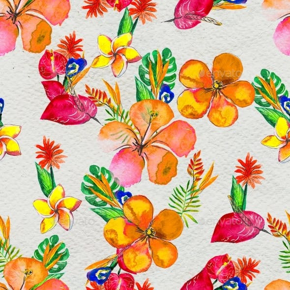 Seamless Pattern With Tropical Flowers. Watercolor