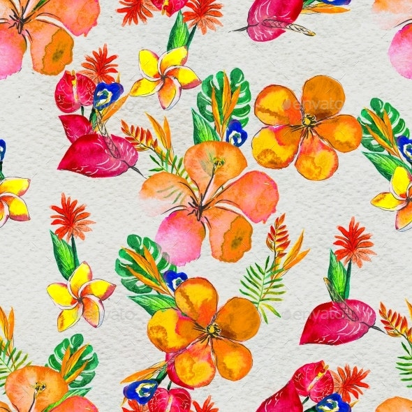 Seamless Pattern With Tropical Flowers. Watercolor - Patterns Decorative