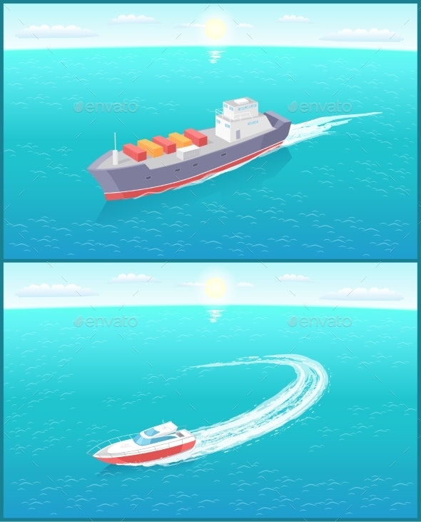 Cargo Ship and Yacht Leaves Trace in Sea or Ocean - Man-made Objects Objects