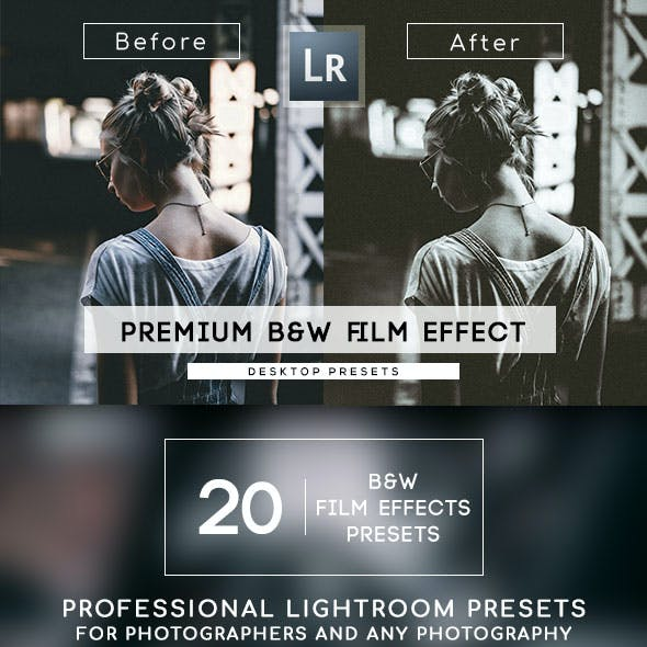 20 B&W Film Effect Lightroom Presets
