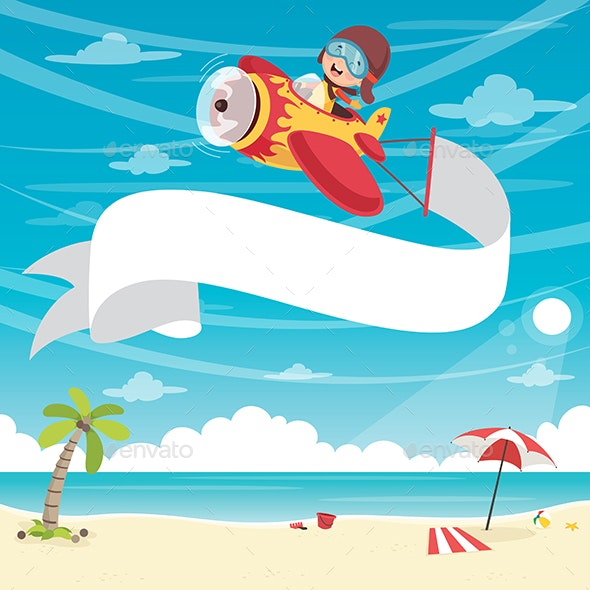 Vector Illustration of Kid Flying Plane With Banner - Travel Conceptual