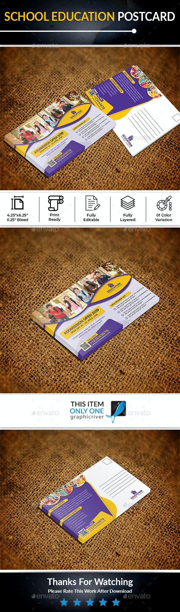School Education Post Card - Cards & Invites Print Templates