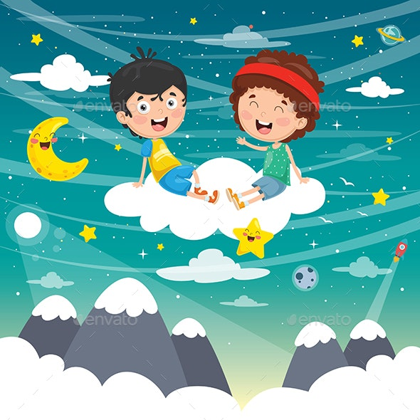 Vector Illustration of Kids in Clouds - Travel Conceptual