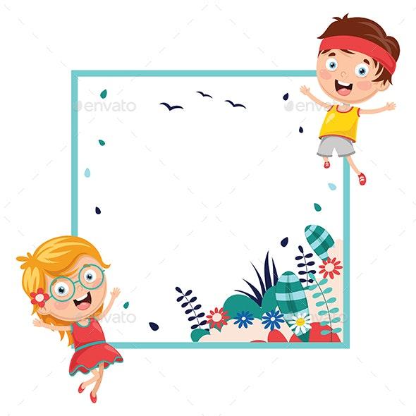 Vector Illustration of Kids Holding Spring Banner - Backgrounds Decorative