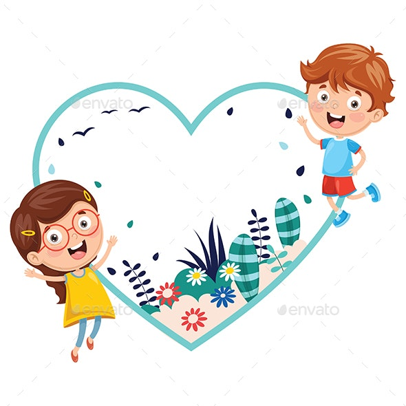 Vector Illustration of Kids Holding Spring Banner - Valentines Seasons/Holidays