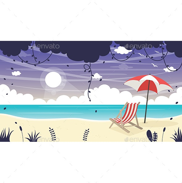 Vector Illustration of Summer Beach Background - Seasons Nature