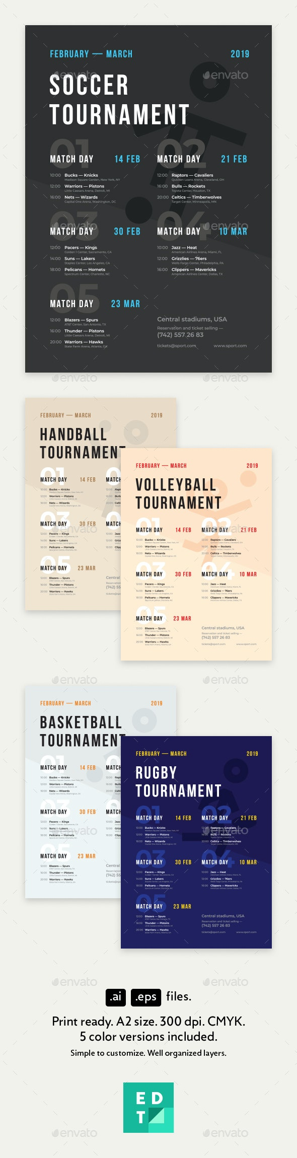 Sport Schedule Event Poster Template - Sports Events