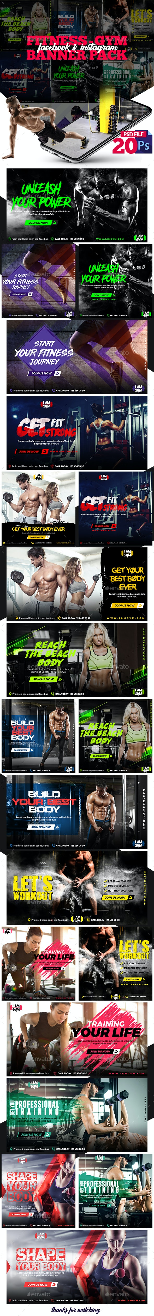 Fitness-GYM Banner Pack - Banners & Ads Web Elements