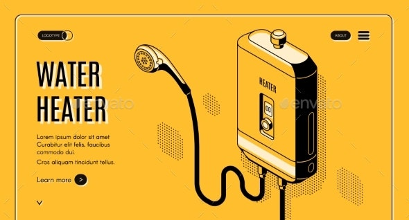 Efficient Water Heater Isometric Vector Website - Man-made Objects Objects