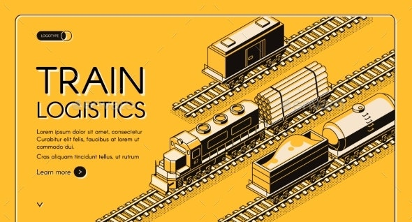 Train Logistics Service Isometric Vector Website - Industries Business