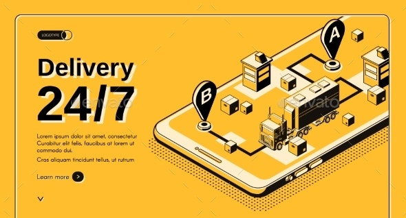 24-Hour Delivery Service Isometric Vector Website - Industries Business