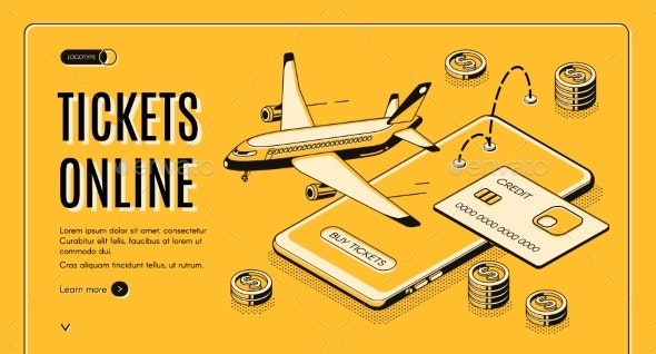 Buying Tickets Online Isometric Vector Website - Travel Conceptual