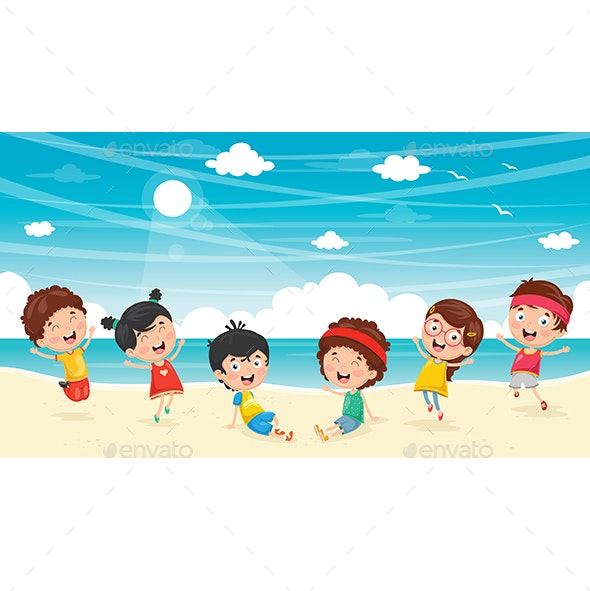 Vector Illustration of Kids Playing at Beach - Seasons Nature