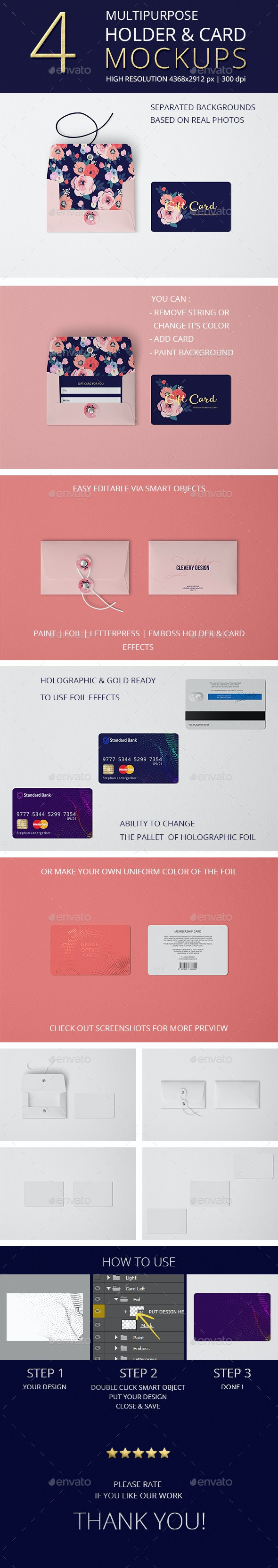 Multipurpose Holder & Card Mockup Vol 7.0 - Miscellaneous Print