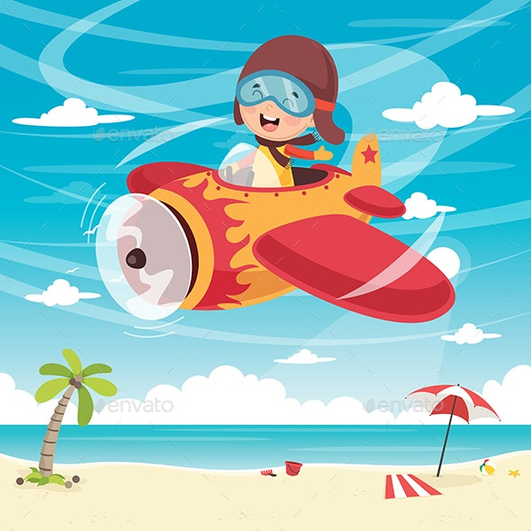 Vector Illustration of Kid Flying Plane - People Characters