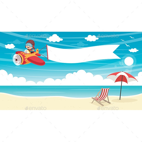 Vector Illustration of Kid Flying Plane With Banner - Seasons Nature