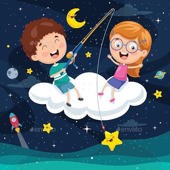 Vector Illustration of Kids Sitting on Cloud - Landscapes Nature