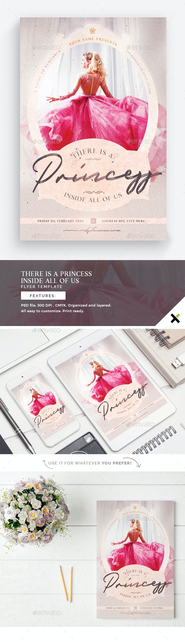 There Is A Princess Inside All Of Us Flyer Template - Flyers Print Templates