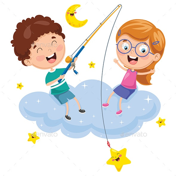 Vector Illustration of Kids Sitting on Cloud - People Characters
