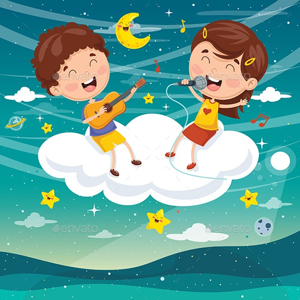 Vector Illustration of Kids Making Music on Cloud - People Characters