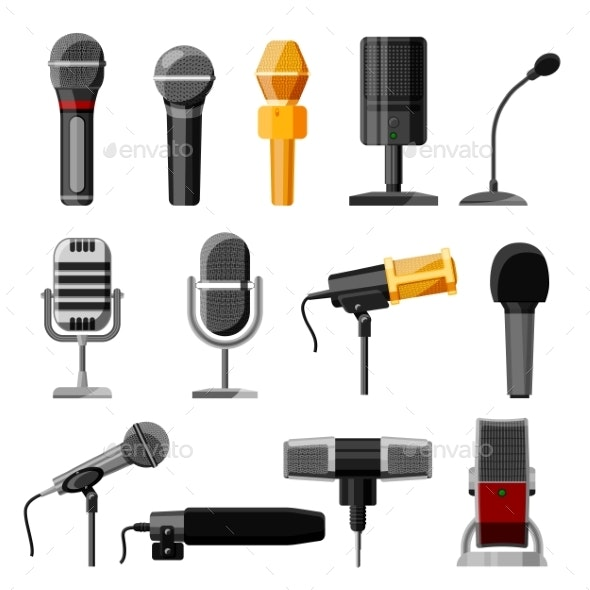 Microphone Audio Vector Dictaphone and Microphones - Man-made Objects Objects