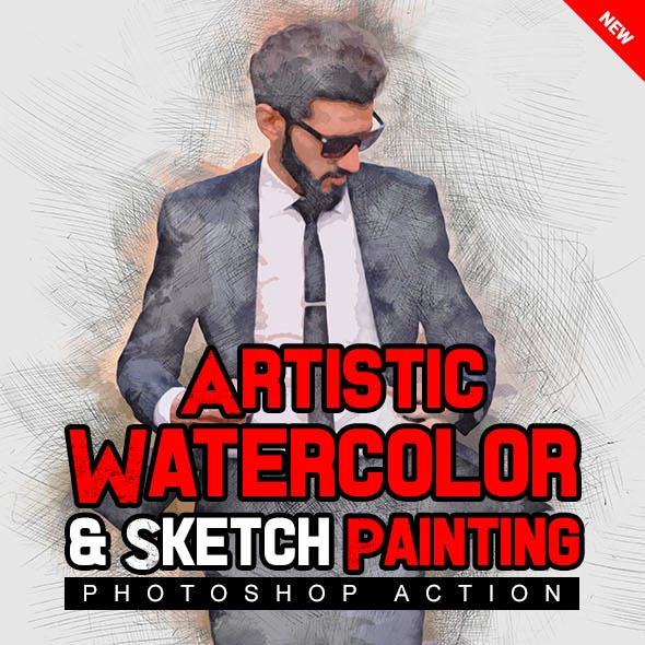Artistic Watercolor & Sketch Painting Photoshop Action