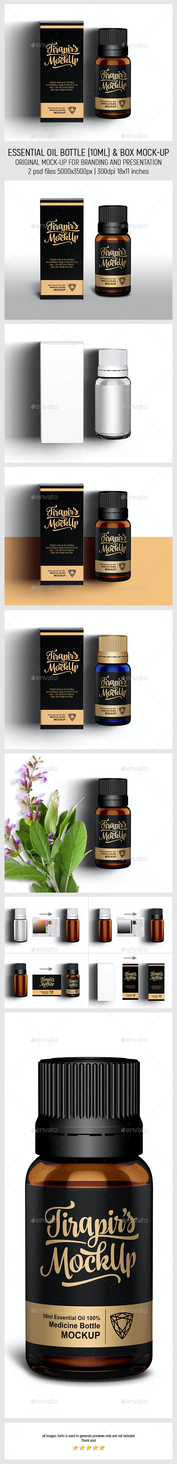 Essential Oil Bottle (10ml) & Box Mock-Up - Miscellaneous Packaging