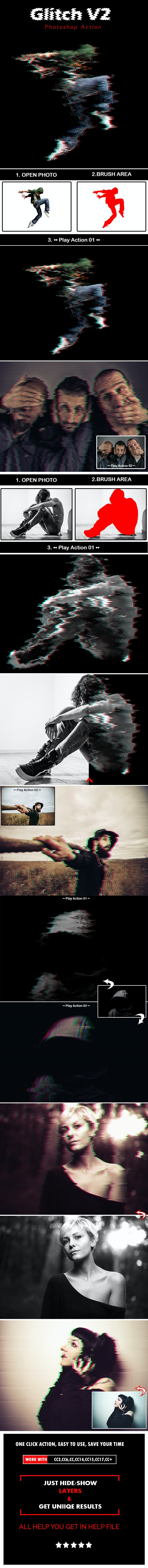 Glitch V2 Photoshop Action - Photo Effects Actions