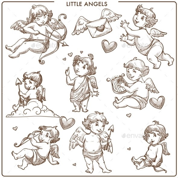 Little Angels Monochrome Sketch Outline - Miscellaneous Characters