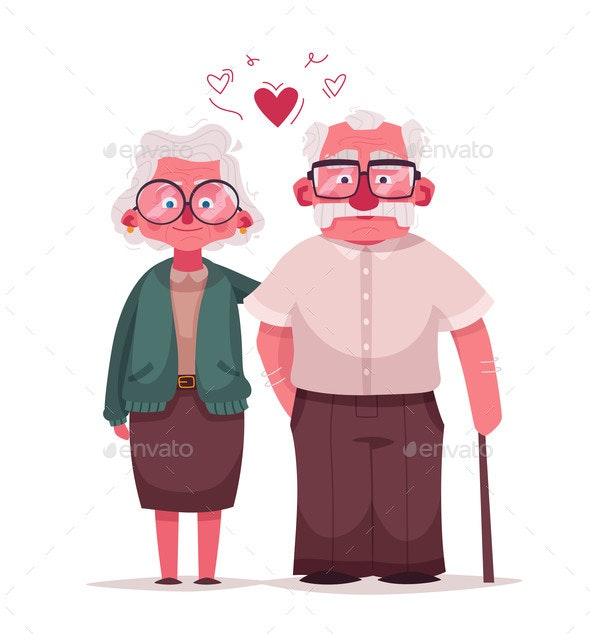 Happy Grandparents Vector Cartoon Illustration - People Characters