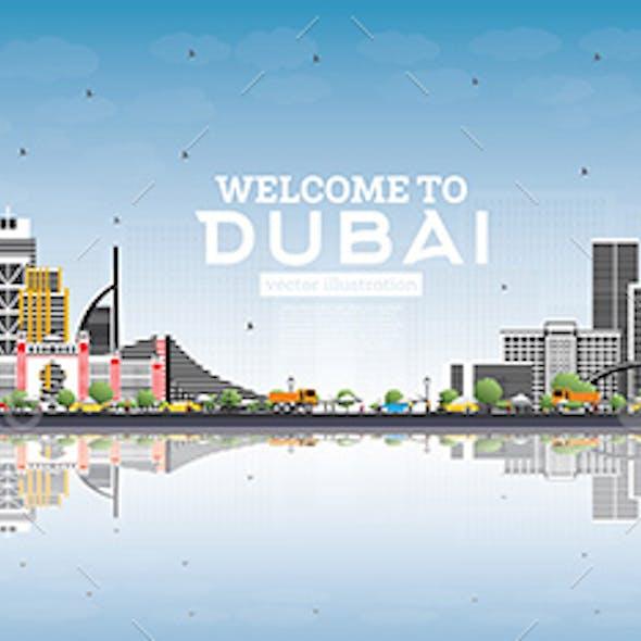 Welcome to Dubai UAE Skyline with Gray Buildings