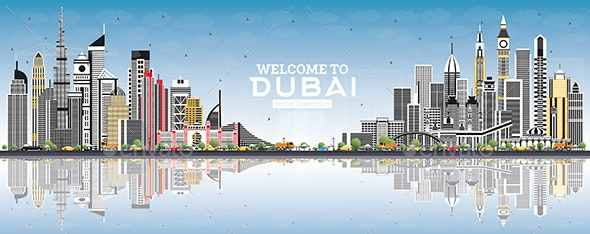 Welcome to Dubai UAE Skyline with Gray Buildings - Buildings Objects