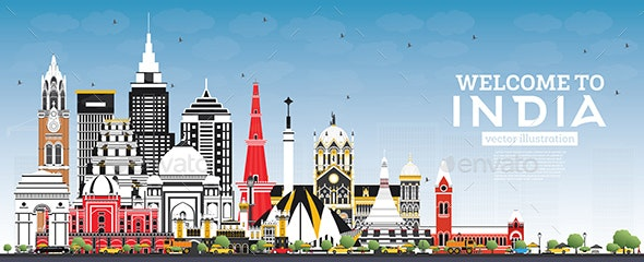 Welcome to India City Skyline with Color Buildings - Buildings Objects