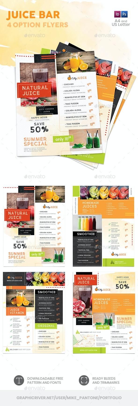 Juice Bar Menu Flyers 2 – 4 Options - Food Menus Print Templates