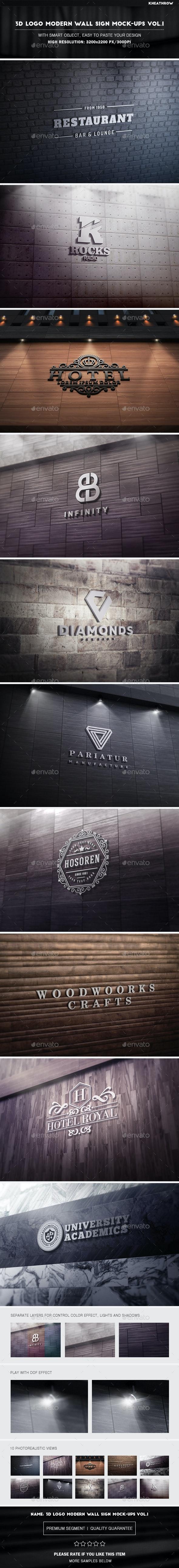 3D Logo Modern Wall Sign Mock-Ups Vol.1 - Product Mock-Ups Graphics