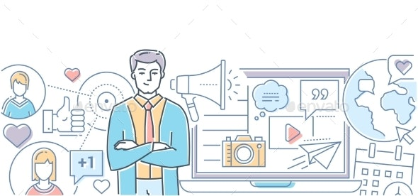 Social Media Marketing - Modern Line Design Style - Concepts Business