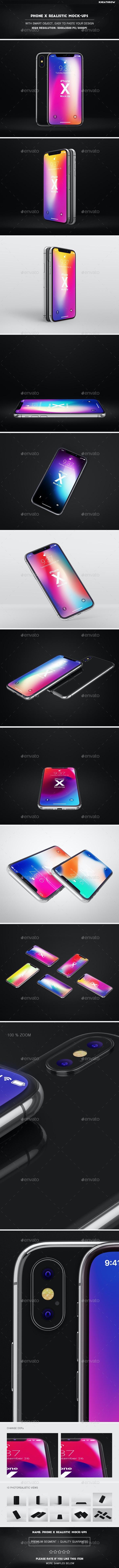 Phone X Realistic Mock-Ups - Mobile Displays